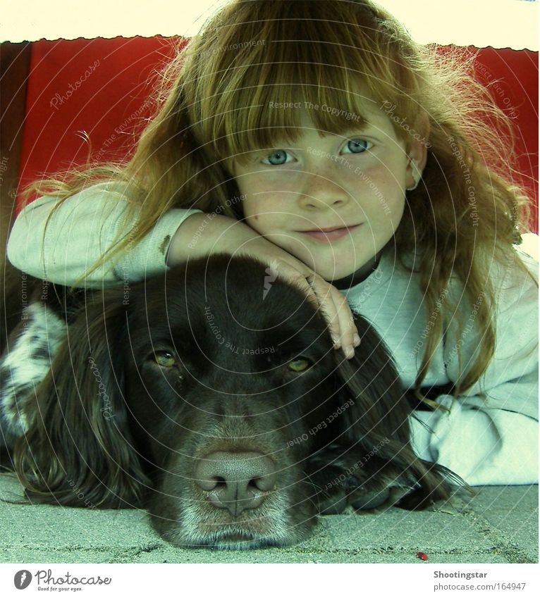 Human being Child Dog Girl Animal Face Eyes Love Playing Head Dream Friendship Infancy Together Contentment Fresh
