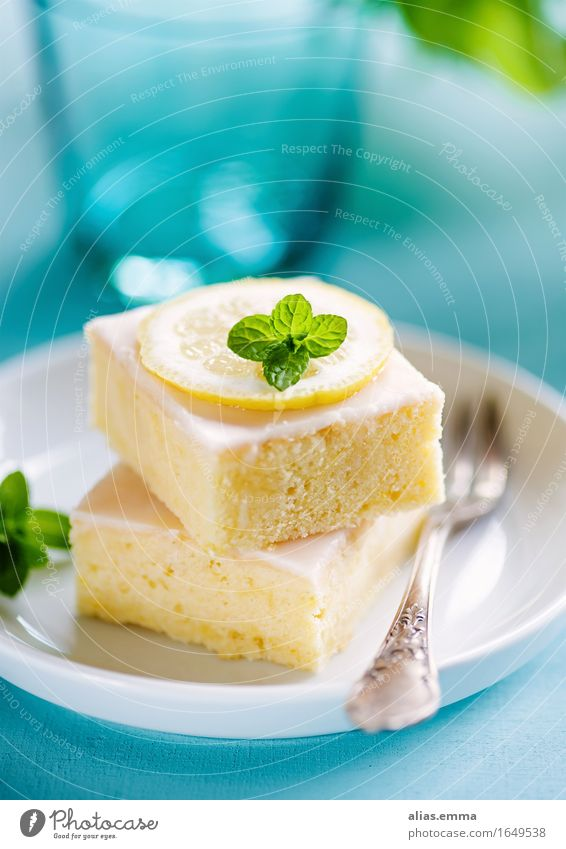 lemoncake Cake lemon cake Food Dish Food photograph Blue Lemon Eating Dessert Baked goods Delicious To enjoy Sweet sheet cake Yellow Fruity homemade