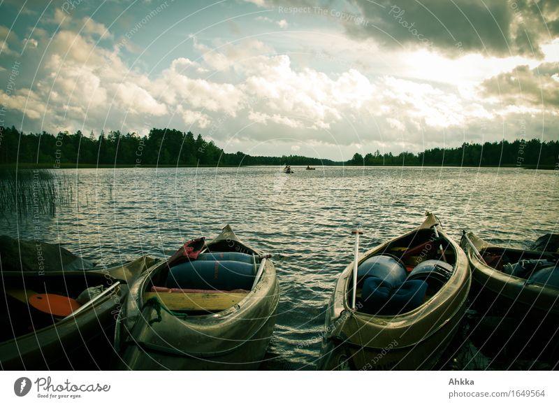 starting position Vacation & Travel Adventure Summer vacation Sky Clouds Lake Watercraft Canoe Canoe trip Free Joie de vivre (Vitality) Anticipation