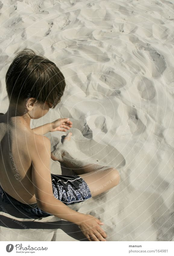 Human being Child Youth (Young adults) Vacation & Travel Summer Beach Loneliness Calm Relaxation Playing Boy (child) Think Dream Infancy Contentment Sit