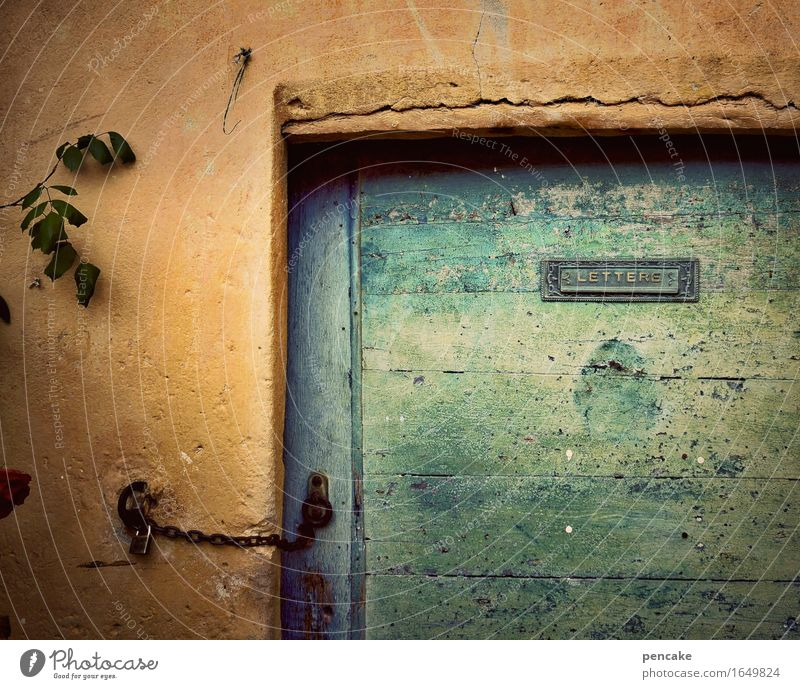 City Old Loneliness Wood Art Facade Orange Door Signs and labeling Characters Authentic Retro Culture Closed Italy Transience