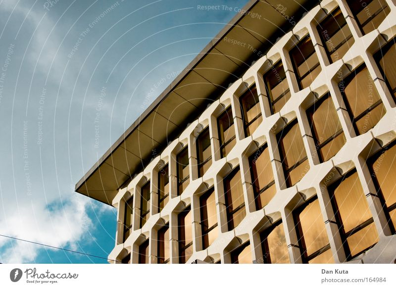 Sky Clouds Window Wall (building) Architecture Wall (barrier) Stone Building Glass Facade Success Roof Retro Warm-heartedness Bank building Positive