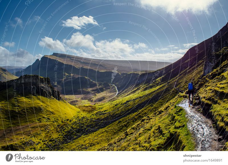 The Quiraing, Isle of Skye, Scotland Fitness Vacation & Travel Adventure Freedom Island Mountain Hiking Sports Human being 1 Environment Nature Landscape Sun