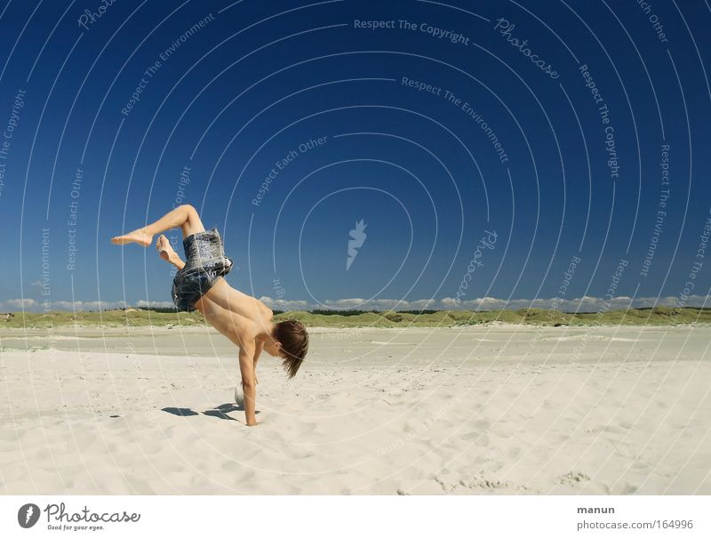 Human being Child Youth (Young adults) Vacation & Travel Summer Joy Beach Relaxation Life Playing Boy (child) Movement Happy Jump Sand Warmth