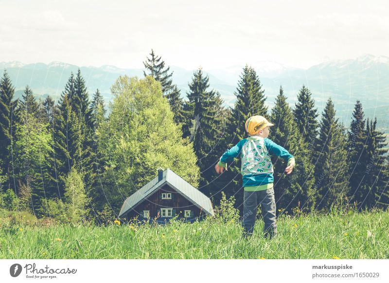 Human being Child Vacation & Travel Summer Loneliness Far-off places Mountain Life Meadow Boy (child) Freedom Rock Masculine Tourism Dream Contentment
