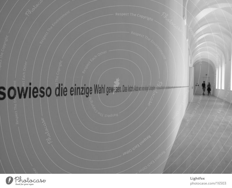 Text on wall bw Wall (building) 2 White Exhibition Trade fair K21 Escape Human being