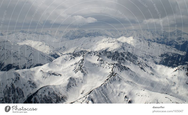 BirdPerspective Environment Nature Landscape Earth Winter Weather Bad weather Wind Ice Frost Snow Wild plant Alps Mountain at Insbruck Peak Snowcapped peak Blue