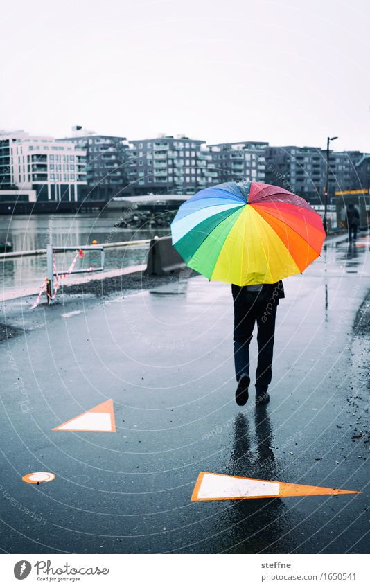 summer solstice 1 Human being Hip & trendy Oslo Umbrella Rainbow Bad weather Norway Town Autumn Spring To go for a walk Street Colour photo Multicoloured