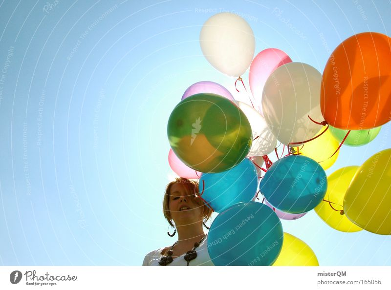 Woman Sun Beautiful Joy Party Style Warmth Feasts & Celebrations Art Flying Crazy Fresh Hope Modern Balloon