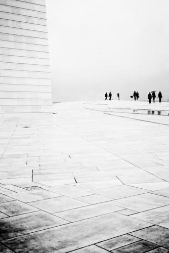 opera ball Bad weather Fog Rain Calm Oslo Opera house Human being Visitor Spatial impression Timeless Sadness Black & white photo Exterior shot Copy Space top