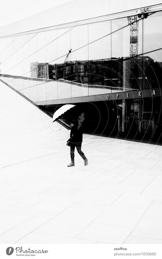 O P E R A Oslo Wet Rain Umbrella Norway Opera house Black & white photo Exterior shot Abstract Structures and shapes Copy Space bottom Contrast Silhouette