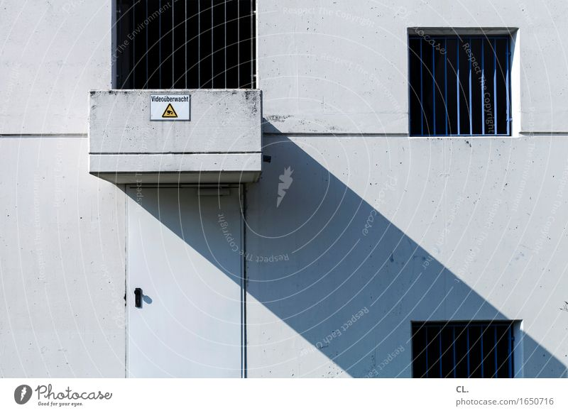 monitored by video House (Residential Structure) Industrial plant Factory Building Architecture Wall (barrier) Wall (building) Facade Window Door Grating