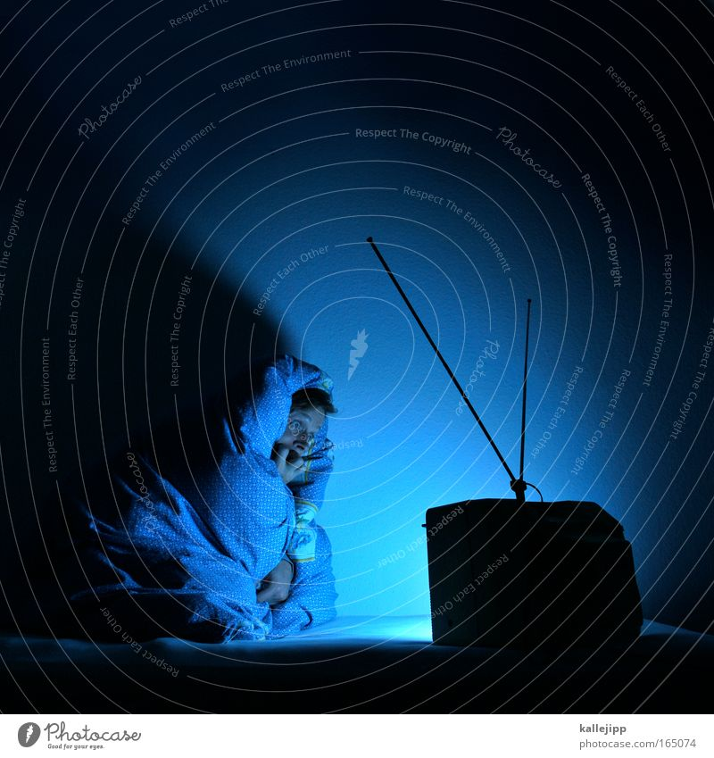 Human being Man Blue Loneliness Life Emotions Adults Fear Sit Dangerous Living or residing Bed TV set Television To hold on Film industry