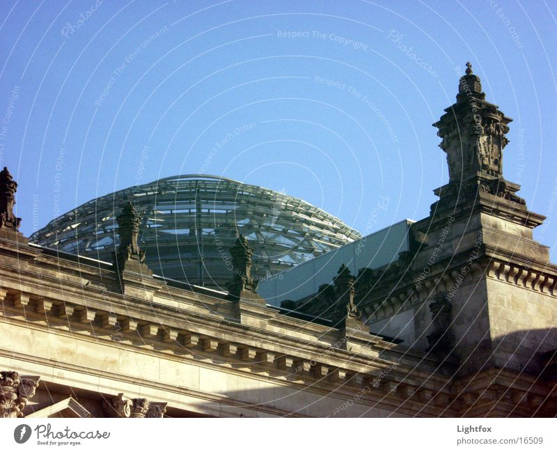 Rich day and night Civil servant Spree Manmade structures Twilight Clouds Building Mirror Architecture Berlin Water Sky Blue Reichstag Stone Orange Glass