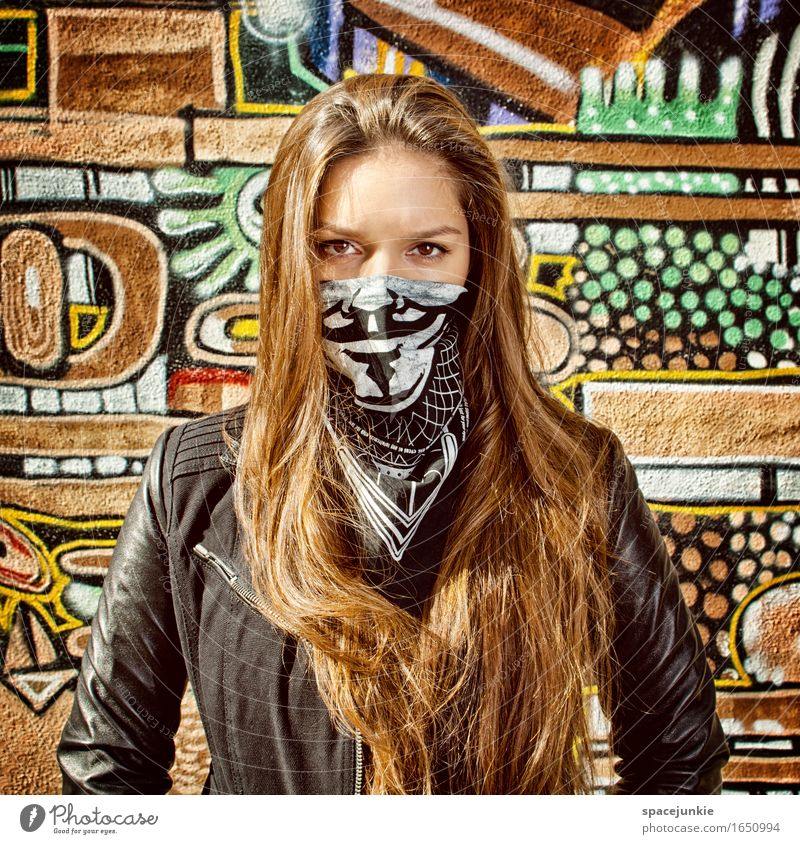 disguised Human being Feminine Young woman Youth (Young adults) Woman Adults 1 18 - 30 years Art Wall (barrier) Wall (building) Facade Fashion Clothing Jacket