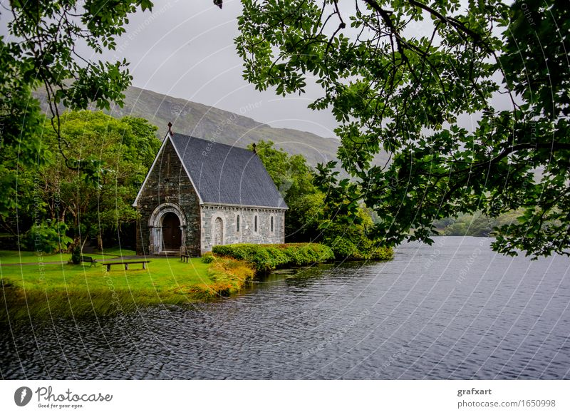 Chapel in Gougane Barra National Park in Ireland Church Landscape Lake Rain Forest Water Old Mountain Cork River Peaceful Past Religion and faith God