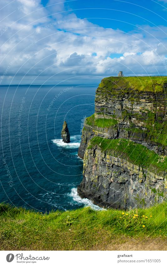 Cliffs of Moher in Ireland Coast Atlantic Ocean Tall Surf Rock galway Risk Dangerous Sky Height Landscape monument Nature Panorama (View) Travel photography Sun