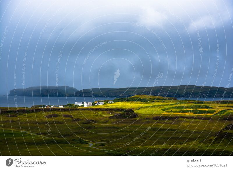 Lonely village in Scotland Isle of Skye Village Settlement Island Clouds Weather Sunbeam Travel photography Rain Loneliness Calm Peaceful Far-off places Ocean