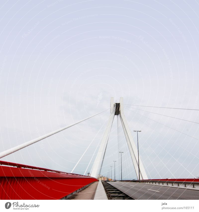 Sky Blue White Red Street Architecture Lanes & trails Building Bright Free Modern Large Transport Esthetic Bridge Manmade structures
