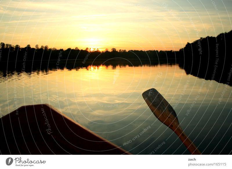 Evening auf´m Lake Colour photo Exterior shot Deserted Copy Space top Twilight Reflection Sunlight Sunrise Sunset Back-light Long shot Calm Fishing (Angle)
