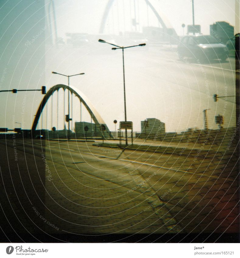 City Car Bridge Longing Traffic infrastructure Dawn Wanderlust Traffic light Lomography Road sign Homesickness