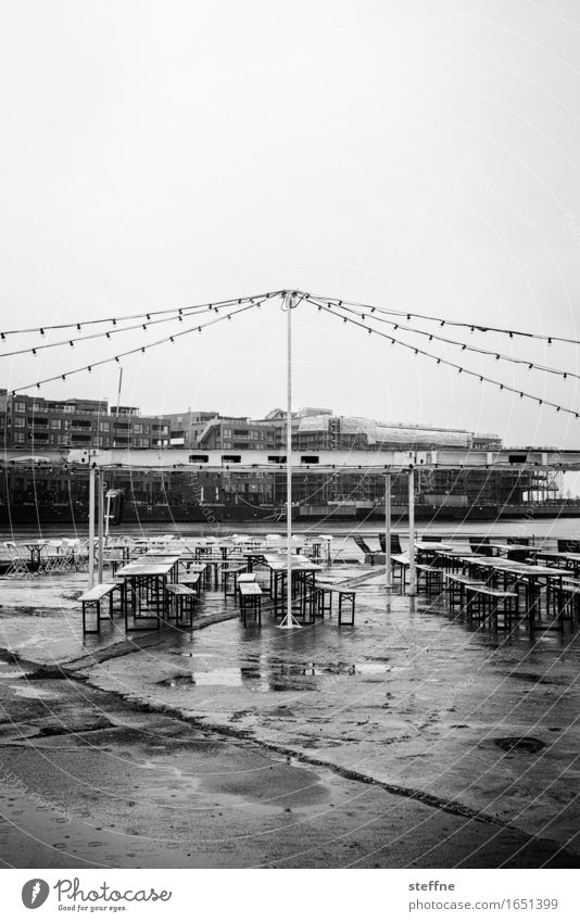 feast day Bad weather Rain Wet Gloomy Sadness Party Fairy lights Beer garden Ale bench Breakdown Black & white photo Exterior shot Deserted Copy Space top