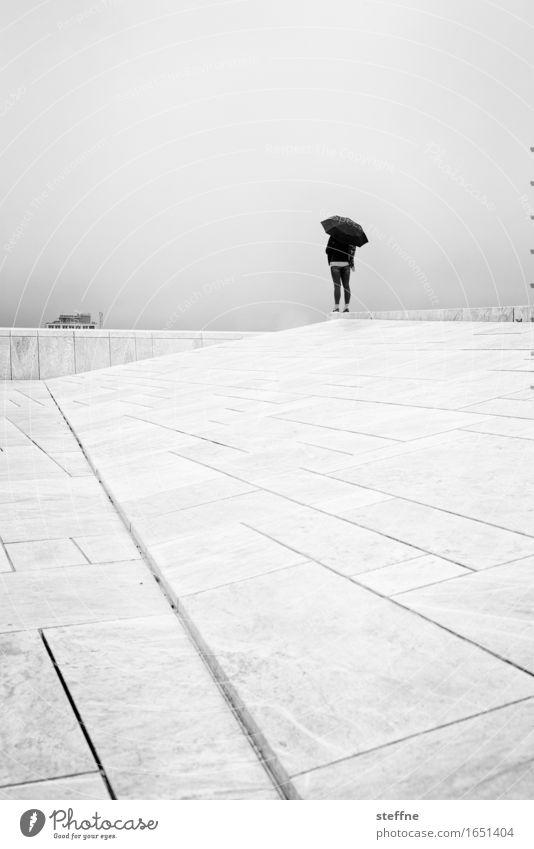Autumn Sadness Rain Fog Gloomy Wet Umbrella Bad weather November Oslo