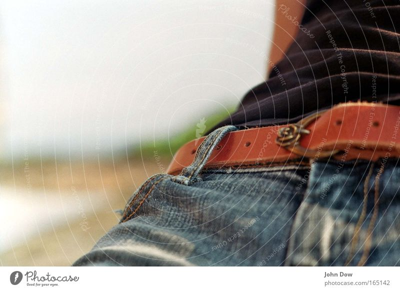 just sit back and relax Colour photo Exterior shot Detail Copy Space left Copy Space top Front view Sunlight Summer Fashion Clothing T-shirt Jeans Leather