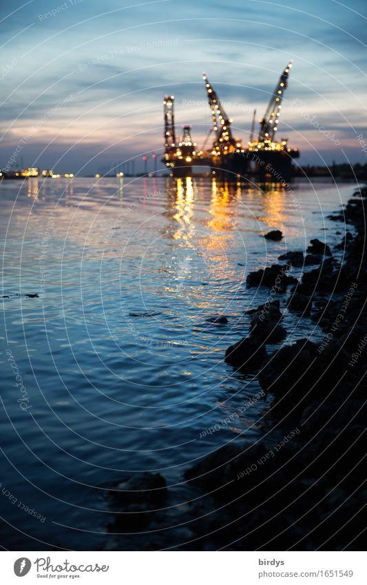 night shift Economy Logistics Services Technology Wind energy plant Crane Night sky Coast River bank Ocean Port of Rotterdam Netherlands Industrial plant