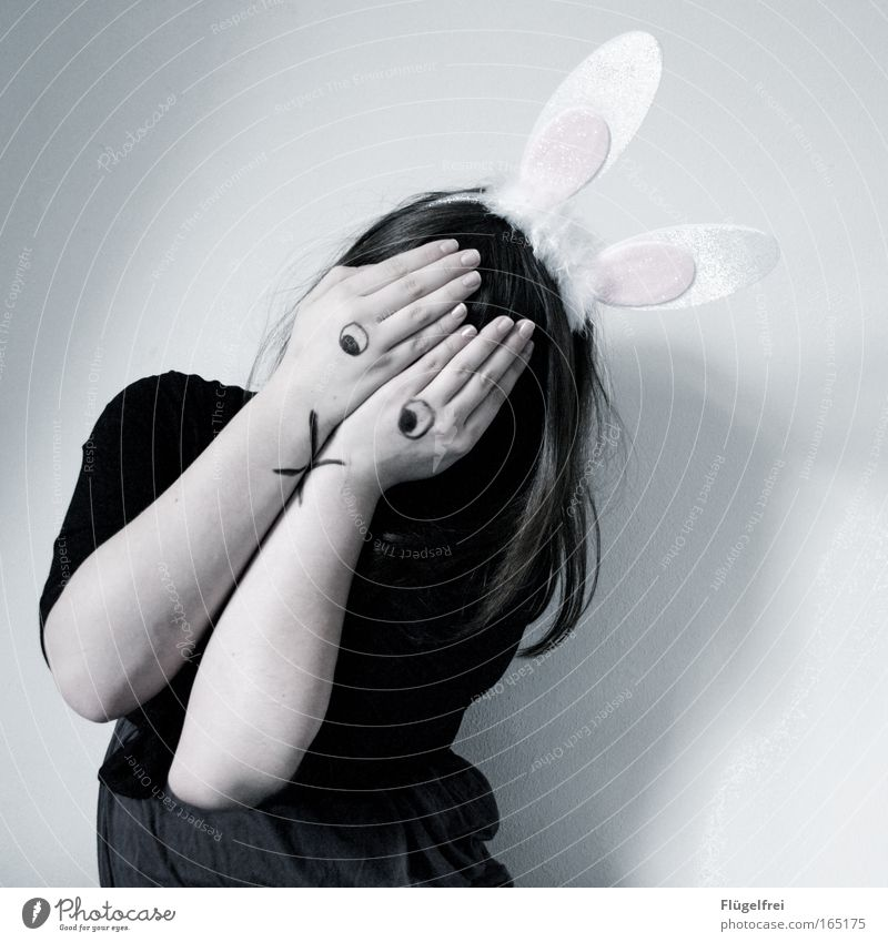 Human being Hand Hare & Rabbit & Bunny Girl Calm Dark Cold Feminine Emotions Sadness Think Dream Moody Wait Feasts & Celebrations Grief
