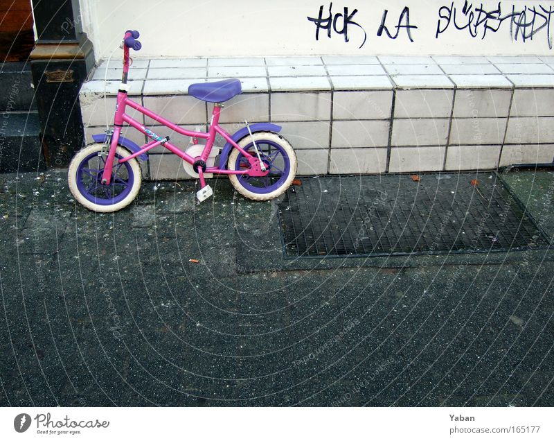 City Wall (building) Playing Wall (barrier) Infancy Bicycle Pink Wait Stand Driving Protection Violet Trashy Lock Youth culture Cliche