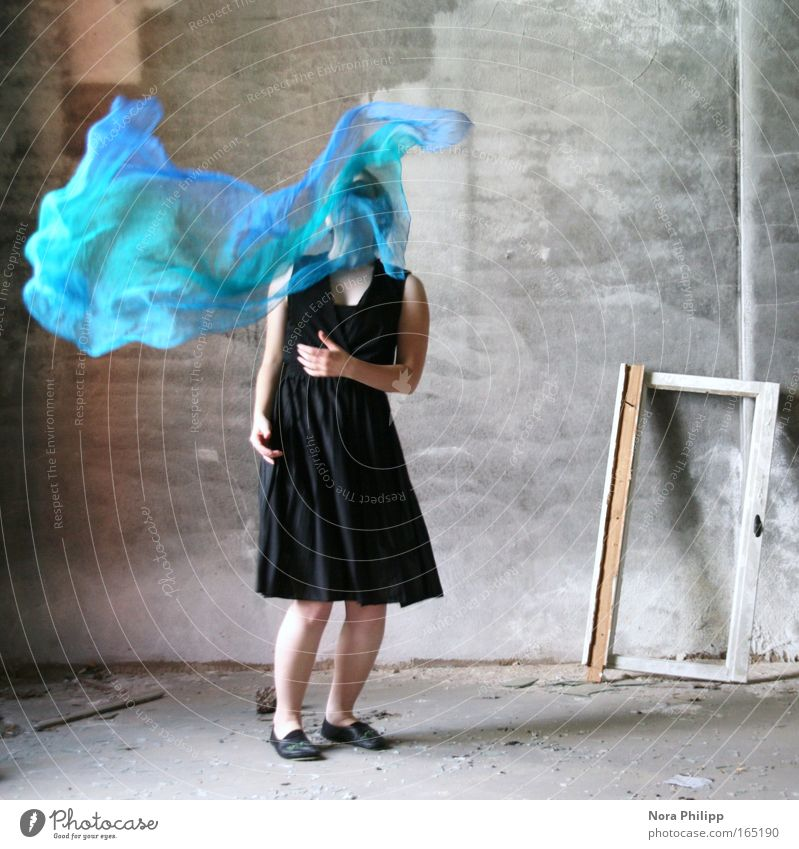 Woman Human being Youth (Young adults) Blue Black Feminine Wall (building) Movement Dream Wall (barrier) Dance Fashion Adults Elegant Esthetic Stand