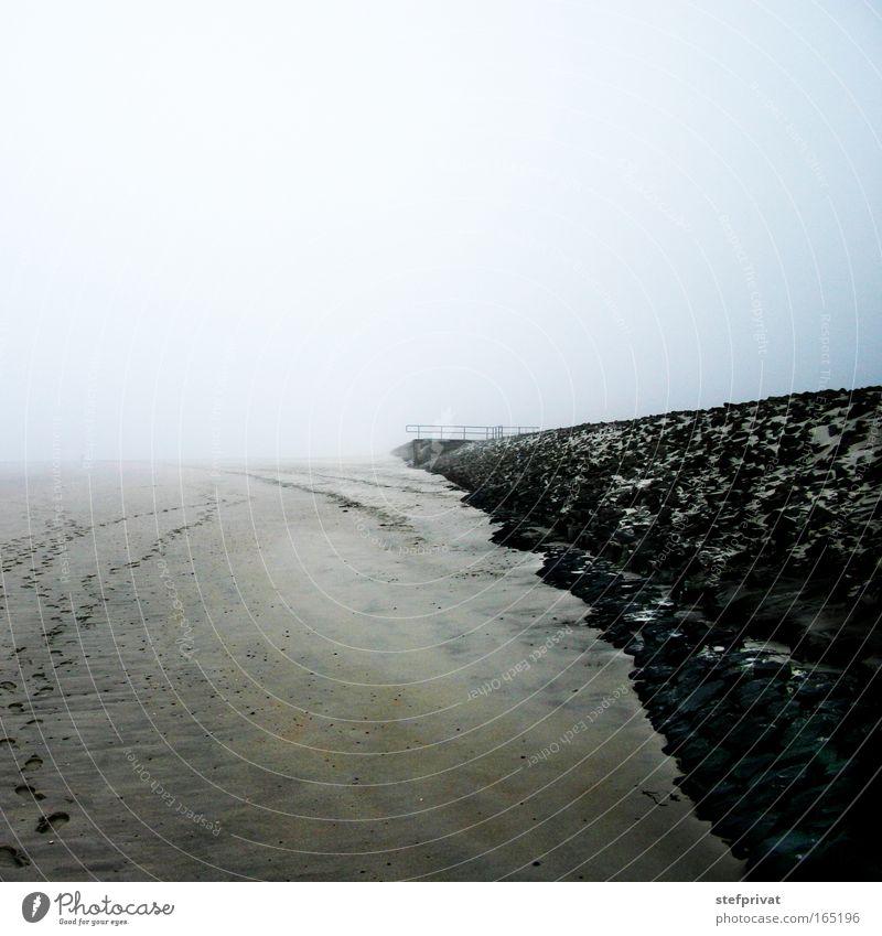 Beach Calm Loneliness Far-off places Dark Cold Relaxation Dream Sadness Sand Coast Fog Free Horizon Island