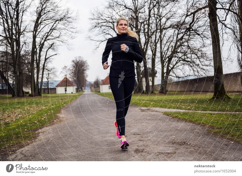 middle gaed woman running in the park Sports Jogging Woman Adults Grass Park Lanes & trails Tights Footwear Fitness Thin Speed Green Pink Black Determination