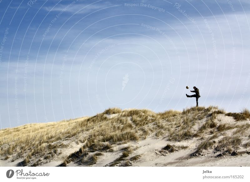 Human being Sky Nature Beach Sports Playing Sand Coast Free Large Masculine Beach dune Denmark Ball sports