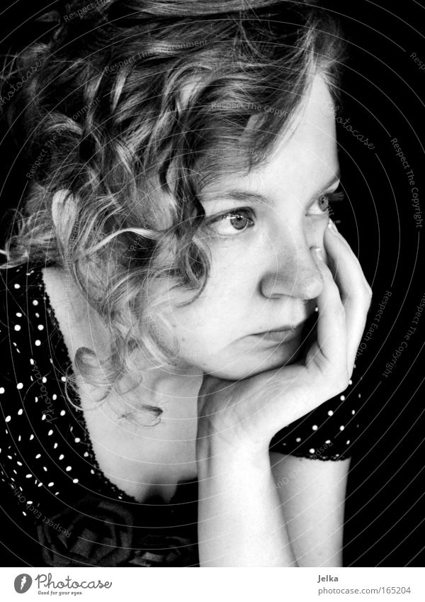 dotted disappointment Black & white photo Close-up Portrait photograph Half-profile Forward Looking away Human being Feminine Young woman Youth (Young adults)