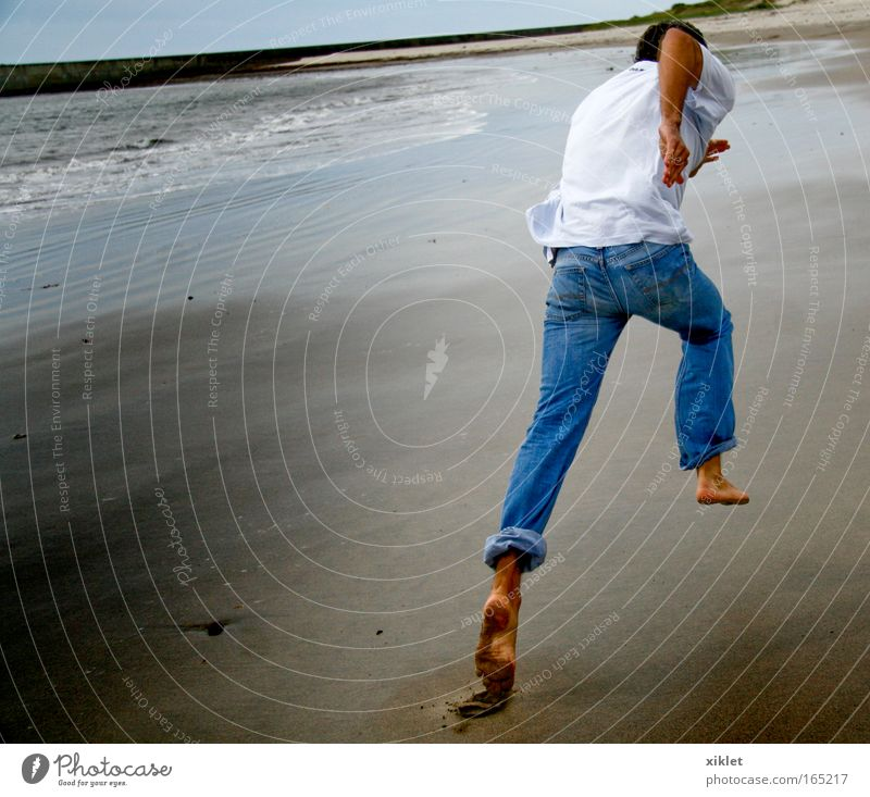 run Nature Youth (Young adults) Beautiful Ocean Beach Coast Healthy Waves Masculine Fresh Speed Young man Running Man Athletic Competition