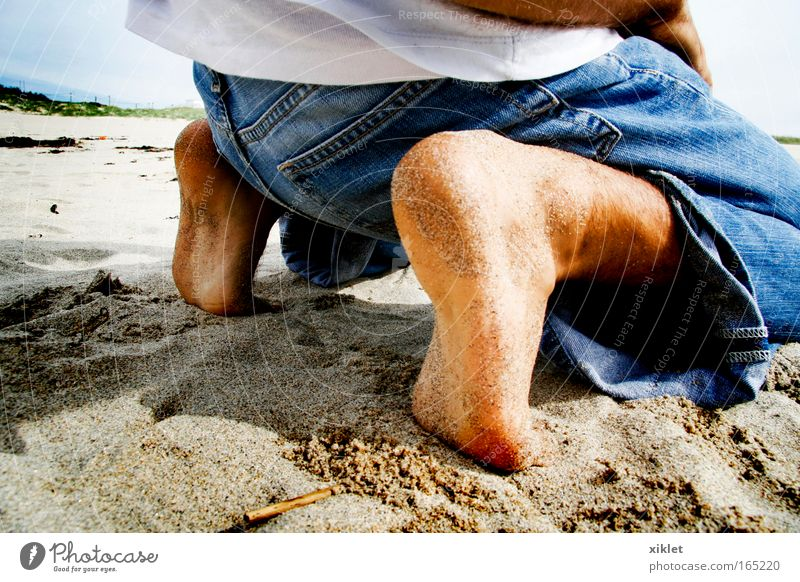 strand Day Masculine Young man Youth (Young adults) Legs Feet 1 Nature Sand Coast Beach Ocean Lie Blue Yellow White Peaceful Serene Calm Relaxation Joy Kneel