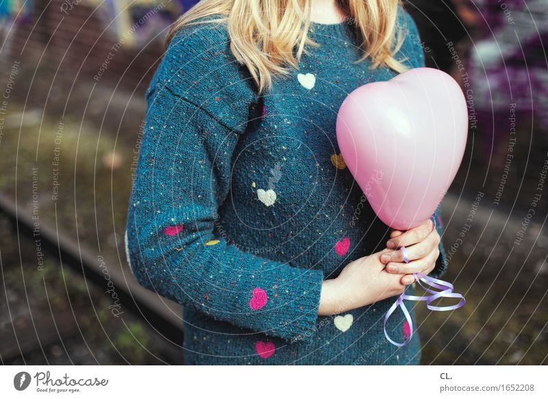 Human being Woman Youth (Young adults) Young woman Loneliness Adults Life Love Emotions Feminine Feasts & Celebrations Blonde Birthday Heart Balloon Kitsch