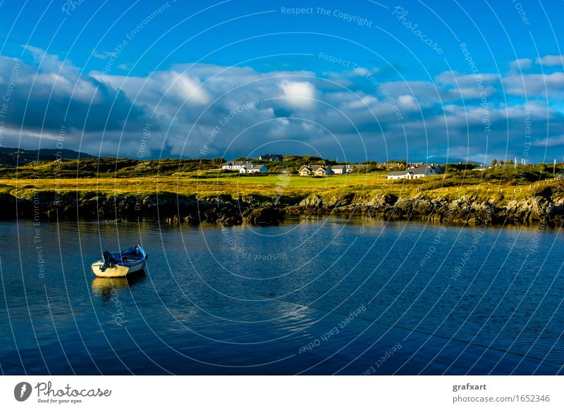 Lonely village and harbour near Donegal in Ireland Coast Village Watercraft Landscape Travel photography Twilight Loneliness Fishery Peaceful Harbour