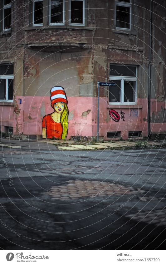 graffiti on house corner - lady in red Art Subculture Deserted Manmade structures Building House (Residential Structure) Wall (barrier) Wall (building)