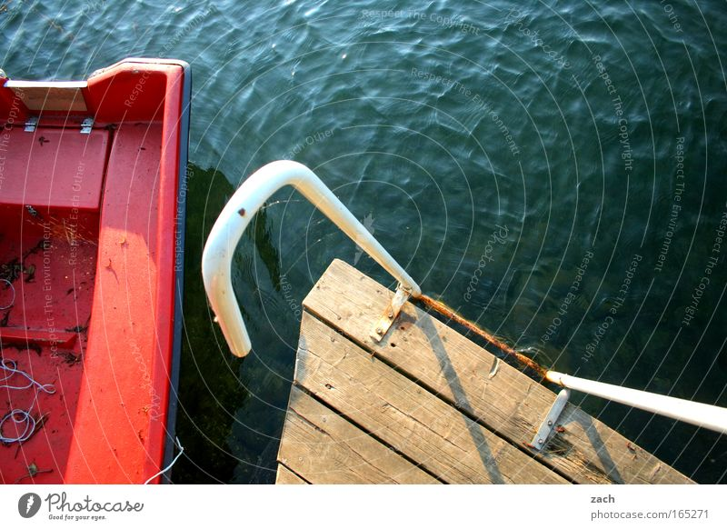 Ready to jump Colour photo Exterior shot Deserted Copy Space top Bird's-eye view Waves Ladder Water Lake Fishing boat Rowboat Watercraft Wood Red Footbridge