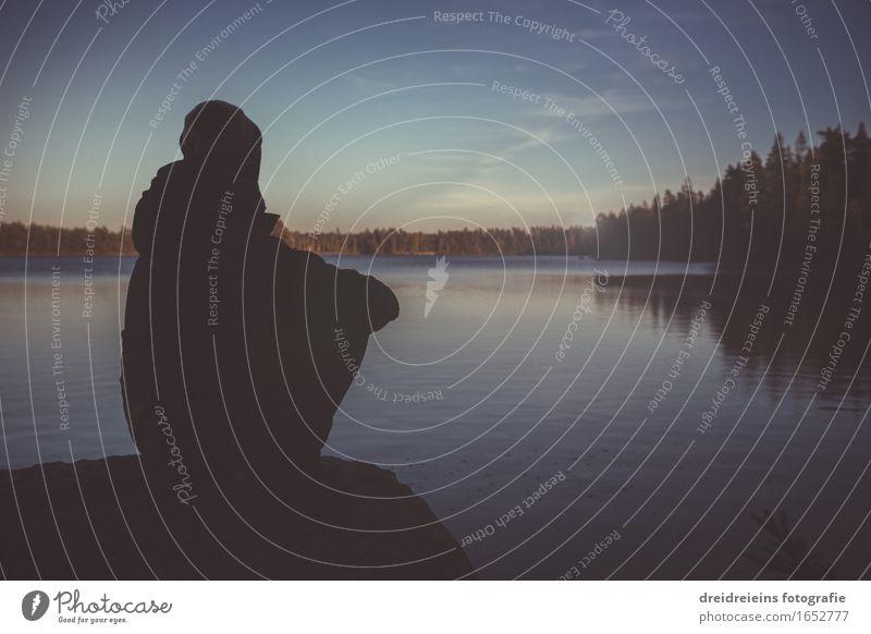 Wanderlust. Human being Masculine Feminine Woman Adults Man Nature Landscape Sky Horizon Sunrise Sunset Lake Observe Think Sit Natural Blue Emotions Love