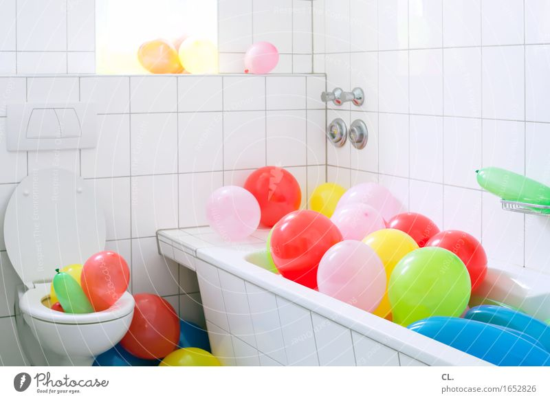 balloon bath Living or residing Flat (apartment) Decoration Room Bathroom Party Event Feasts & Celebrations Carnival Birthday Bathtub Toilet Esthetic
