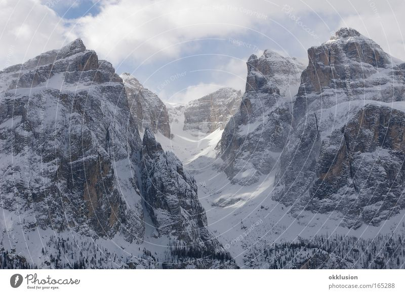 Dolomites, Alps, Val Gardena Colour photo Exterior shot Deserted Day Panorama (View) Nature Landscape Elements Clouds Winter Beautiful weather Ice Frost Snow