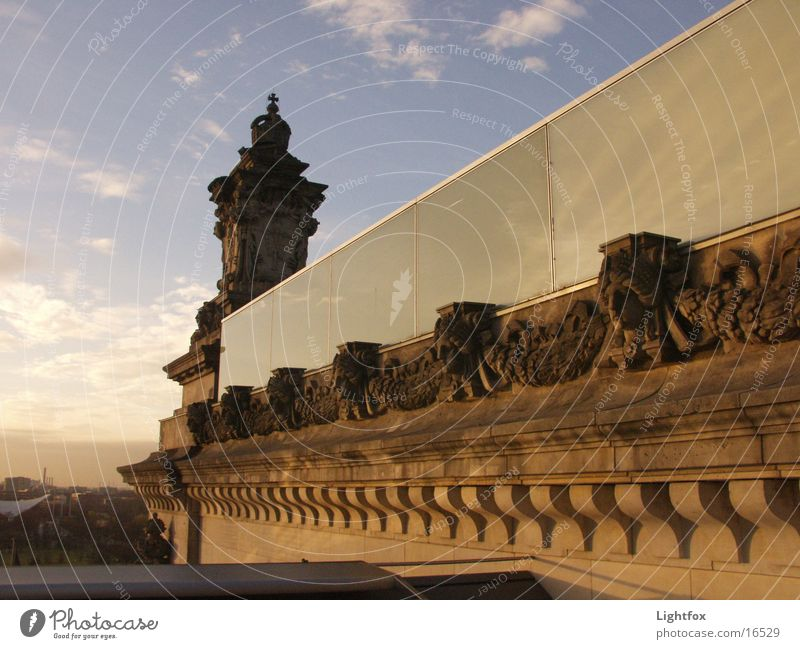 Water Sky Blue Clouds Berlin Stone Building Orange Glass Mirror Manmade structures Historic Reichstag Spree Civil servant