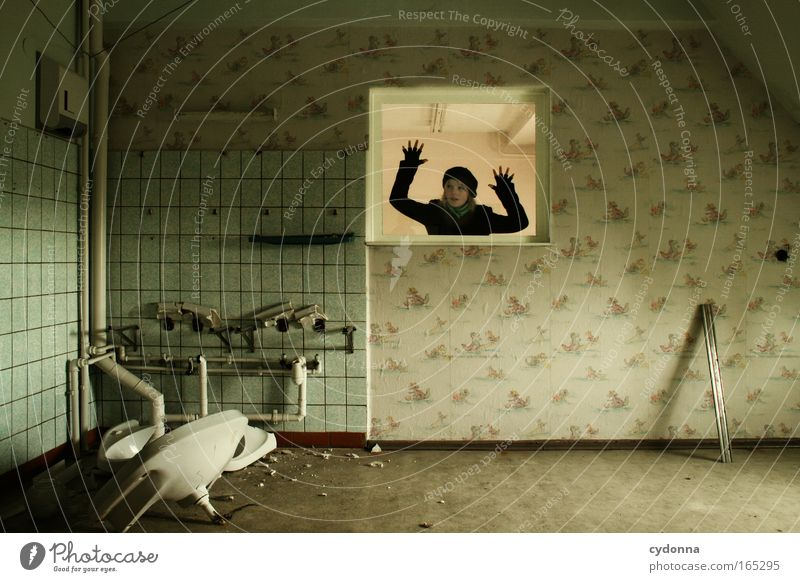Human being Woman Youth (Young adults) Adults Far-off places Window Life Wall (building) Freedom Wall (barrier) Sadness Dream Time Esthetic Hope Change