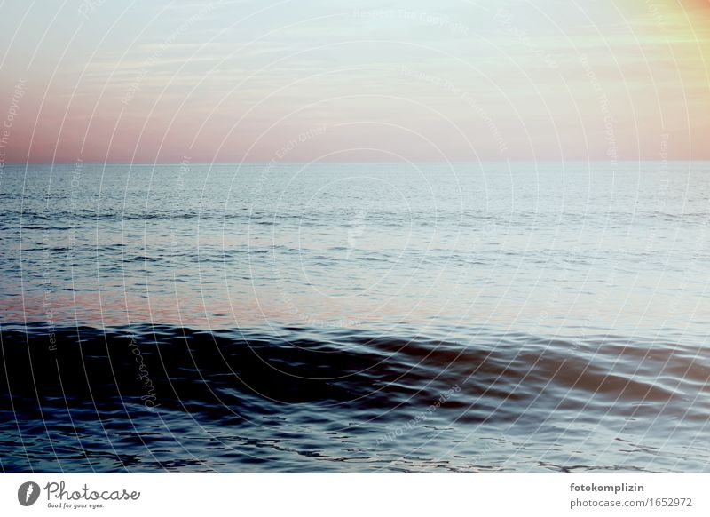 Dark Sea Environment Nature Water Sky Waves Beach Ocean Infinity Maritime Blue Pink Black Longing Homesickness Wanderlust Loneliness Calm depth Kinetic energy