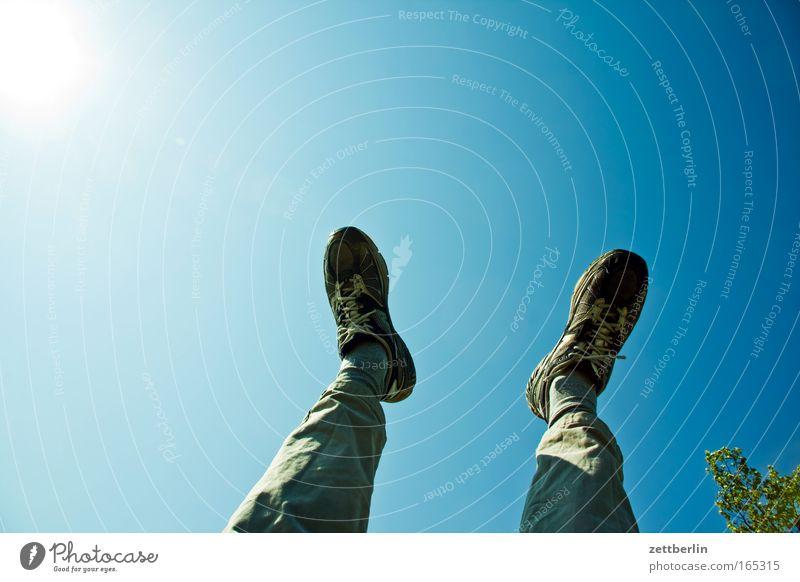 Sky Sun Relaxation Legs Feet Footwear Break Pants Athletic Sneakers Yoga Gymnastics Landscape format Resting place