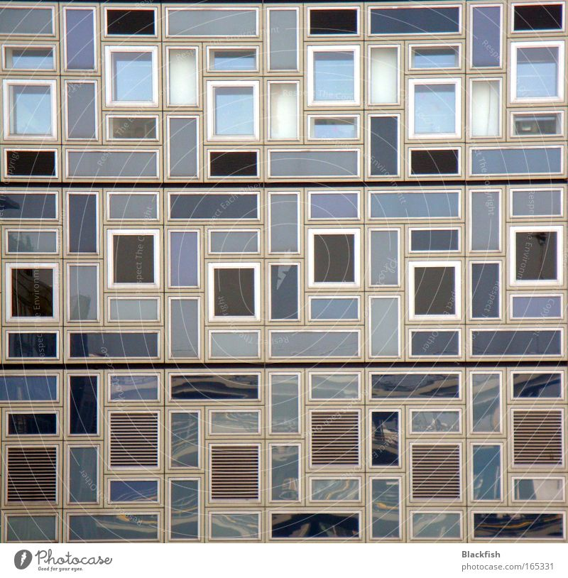 tetris Colour photo Subdued colour Exterior shot Deserted Central perspective Living or residing Flat (apartment) Room Art Facade Window Sharp-edged Blue Gray